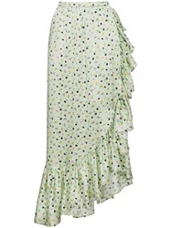 Attico Silk Floral Wrap Skirt Green