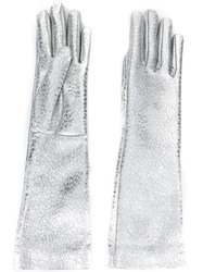 Jil Sander Metallic Grey Gloves