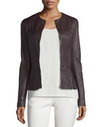 The Row Anasta Washed Leather Zip Front Jacket Port Khaki