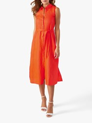 Pure Collection Sleeveless Linen Shirt Dress Bright Coral