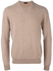 Z Zegna Crew Neck Pullover Nude And Neutrals