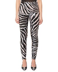 Tom Ford Zebra Stripe Sequin Leggings Black White
