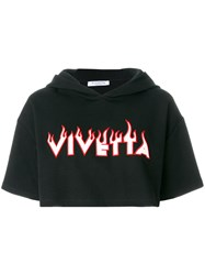 Vivetta Logo Embroidered Cropped Hoodie Black