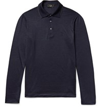 Dunhill Contrast Tipped Wool Polo Shirt Navy