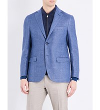 Corneliani Regular Fit Hemp And Wool Blend Jacket Blue