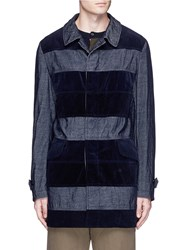 Comme Des Garcons Homme Corduroy And Velveteen Patchwork Coat Blue