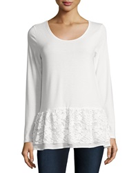 Neiman Marcus Lace Hem Long Sleeve Tee Off White