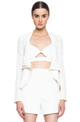 Roland Mouret Mensa Cotton Moto Jacket In White