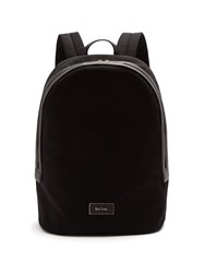 Paul Smith Logo Print Leather Trimmed Canvas Backpack Black