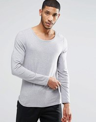 Asos Muscle Long Sleeve T Shirt With Scoop Neck In Gray Gray