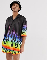 Jaded London Festival Co Ord Shorts In Black With Rainbow Flames
