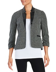 Nipon Boutique Faux Leather Tweed Blazer Ivory Black