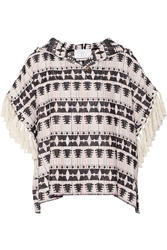 Thakoon Fringed Hooded Cotton Blend Tweed Top