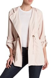Live A Little Lightweight Tie Front Hooded Jacket Petite Pink