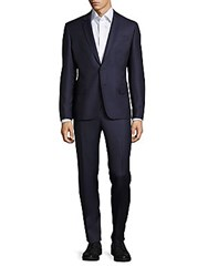 Balmain Solid Pure Wool Suit Blue