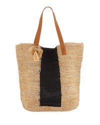 Seafolly Carried Away Sandy Linen Beach Tote Bag Neutral Pattern