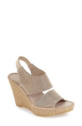 Andre Assous Women's 'Reese' Wedge Sandal Champagne Sparkle