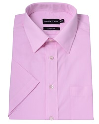 Double Two Plain Classic Fit Short Sleeve Classic Collar For Pink