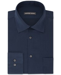 Geoffrey Beene Men's Fitted Wrinkle Free Bedford Cord Dress Shirt River Blue
