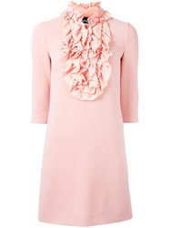 Boutique Moschino Ruffled Bib Dress Pink Purple