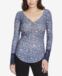 William Rast Clementine Textured Lace Cuff T Shirt Patriot Blue Floral Graphic