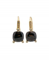 Poiray 18K Yellow Gold Smoky Quartz And Diamond Drop Earrings Brown