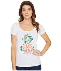 Tommy Bahama Floral Pineapple Short Sleeve Tee White Women's T Shirt