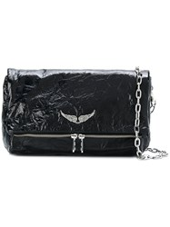 Zadig And Voltaire Rocky Creased Shoulder Bag Black