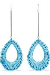 Ben Amun Woman Silver Tone Cord Earrings Turquoise