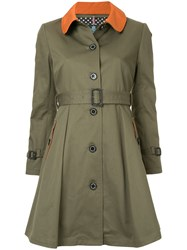 Guild Prime Contrast Collar Single Breasted Coat Green