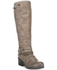 Carlos By Carlos Santana Candace Wide Calf Buckle Boots Women's Shoes Grey
