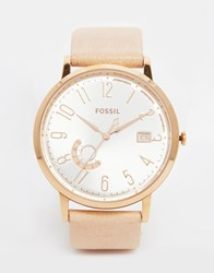 Fossil Rose Gold Vintage Muse Leather Watch Beige