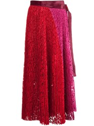 Sacai Pleated Lace Midi Skirt Red