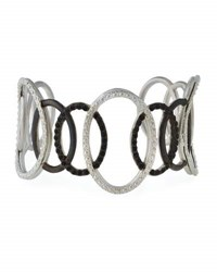 Armenta New World Large Open Circle Cuff Bracelet With Black Spinel Silver