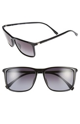 Boss 57Mm Retro Sunglasses Shiny Black Grey Gradient