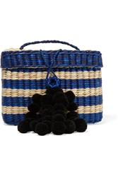 Nannacay Baby Roge Pompom Embellished Striped Woven Raffia Tote Navy Gbp