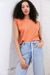 Truly Madly Deeply Tina Roll Sleeve Top Orange