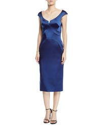 Zac Posen Scoop Neck Cap Sleeve Stretch Faille Sheath Cocktail Dress Navy