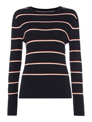 Therapy Sila Multi Stripe Jumper Navy And Pink Navy And Pink
