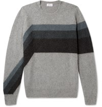 Brioni Striped Cashmere And Camel Blend Sweater Gray