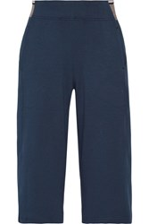 Lndr Wander Cropped Cotton Blend Jersey Wide Leg Pants Navy