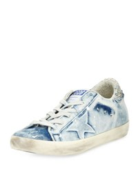 Golden Goose Denim Low Top Sneaker Bleached Blue White