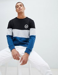 Hype Sweatshirt With Cut And Sew Panel Blue