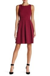 Anne Klein Crepe Inverted Pleat Fit And Flare Dress Purple