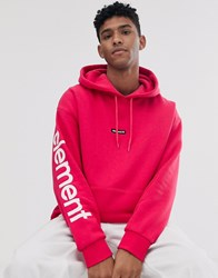 Element Primo Big Hoodie With Sleeve Print In Pink