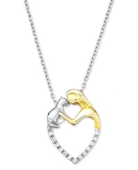 Macy's Aspca Tender Voices Sterling Silver And 10K Gold Plated Necklace Diamond Accent Woman And Cat Heart Pendant