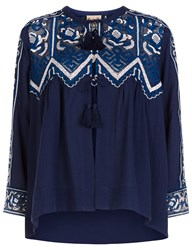 Sea Blue Cotton Embroidered Cardigan