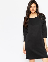 Soaked In Luxury 3 4 Sleeve Textured Shift Dress Black