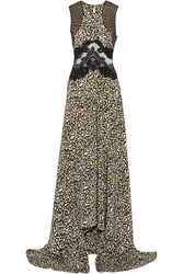 Stella Mccartney Simone Lace Trimmed Leopard Print Silk Crepe De Chine Gown White