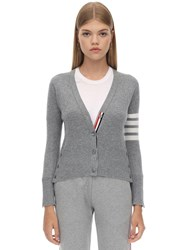 Thom Browne Intarsia Stripes Cashmere Knit Cardigan Light Grey